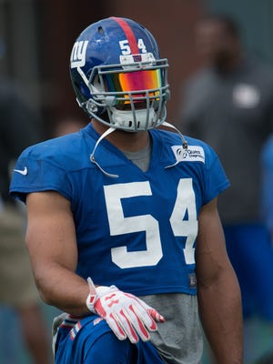 New York Giants defensive end Olivier Vernon (54) looking on at Quest Diagnostics Training Center.