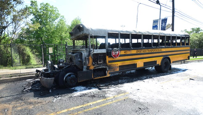 Photo of a school bus that caught fire near the corner of Reinhardt and Oldham Roads in Wayne on 05/23/18.