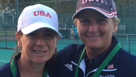 Tennis players Nancy Hilliard, left, and Julie Cass helped the U.S. team finish third at a recent ITF worldwide event in South Africa.