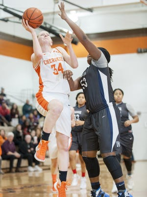 Cherokee's Leah Reistle shoots as Timber Creek's Jazmine Carter defends during the second quarter of Thursday's game.
