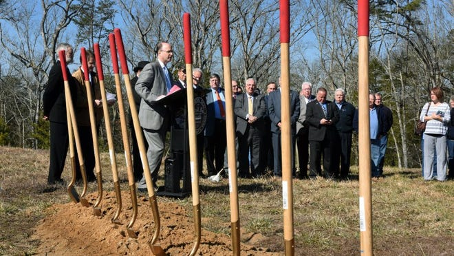 Former Knox County Schools Superintendent James McIntyre speaks at the groundbreaking ceremony for a new Gibbs Middle School on Feb. 19, 2016. Another ceremony was held later for the new school in the Hardin Valley community.