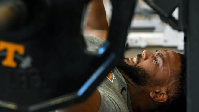 Brian Randolph during the bench press during Pro Day at the University of Tennessee indoor facility Wednesday, Mar. 30, 2016. Several former UT players run through drills for NFL scouts. (MICHAEL PATRICK/NEWS SENTINEL)
