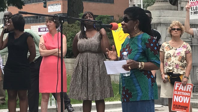 Alice Green, executive director of the Center for Law and Justice, speaks at a voting reform rally in West Capitol Park in Albany on Tuesday, June 13, 2017.