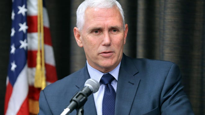 Indiana Governor Mike Pence, speaking in Indianapolis on June 13, 2014.