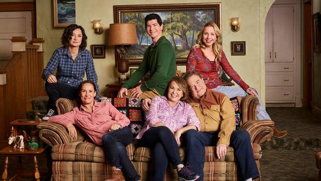 "ABC's ""Roseanne"" stars Sara Gilbert as Darlene Conner, Laurie Metcalf as Jackie Harris, Roseanne Barr as Roseanne Conner, Michael Fishman as D.J. Conner, John Goodman as Dan Conner, Alicia Goranson as Becky Conner."