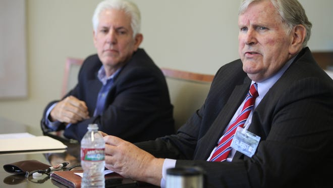 Indian Wells city council candidate Dana Reed talks to The Desert Sun during an editorial board meeting on Wednesday.