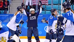 USA forward Danielle Cameranesi celebrates a goal against