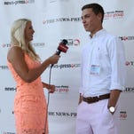 WINK-TV sportscaster Chelsa Messinger, a former collegiate swimmer, interviews Ida Baker golfer Ross Lally during The News-Press All-Area Stars Banquet on June 3 at Hammond Stadium.