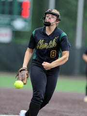 North Hunterdon vs. Mount Olive softball in the NJSIAA Group IV semifinals.North pitcher #8 Maggie Swan   Thursday May 31, 2018 photo by Ed Pagliarini