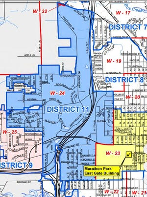 A map showing Wausau's 11th District. The blue lines outline Wausau City Council districts and the red lines delineate wards within the districts.