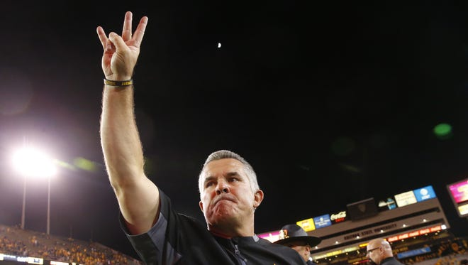 Arizona State Sun Devils head coach Todd Graham celebrates defeating the Arizona Wildcats in the 91st Territorial Cup game at Sun Devil Stadium in Tempe on November 25, 2017.