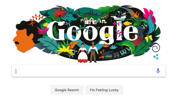 A Google Doodle honoring Colombian author Gabriel Garcia