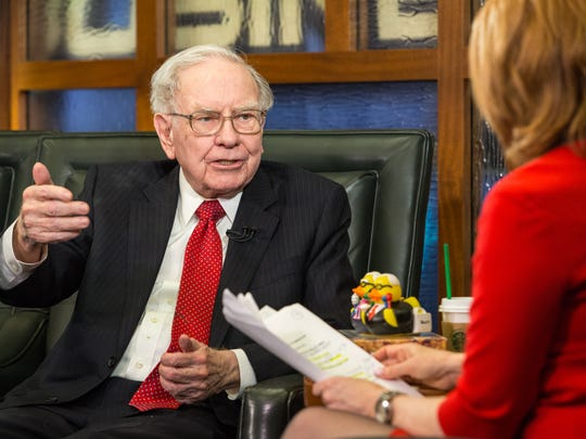 Berkshire Hathaway Chairman and CEO Warren Buffett talks in Omaha on  Monday during an interview with Liz Claman on the Fox Business Network.