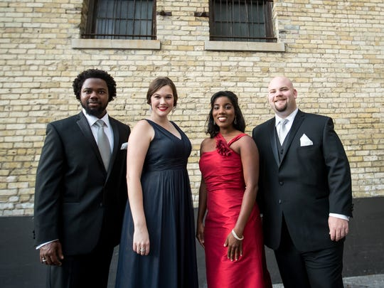 Ariana Douglas (in red dress) will sing a program of Gilbert & Sullivan music with fellow Florentine Studio Artists Leroy Y Davis, Ashley Puenner and Thomas Leighton.