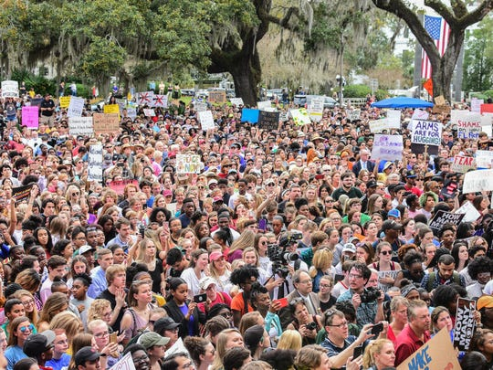 Around 3,000 protesters gathered outside of the Florida