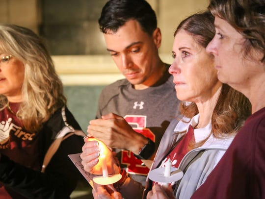 Members of the Parkland and Tallahassee community gathered for a vigil in honor of the 17 lives lost in the Marjory Stoneman Douglas shooting.
