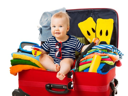 Baby Travel Suitcase, Child Sit in Traveling Baggage, Kid into Vacation Luggage Full of Beach Belongings, White Isolated
