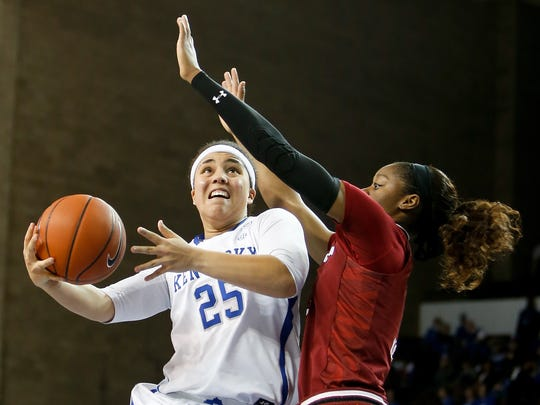 Kentucky Wildcats guard Makayla Epps puts up a layup against the South Carolina Gamecocks during the second half at Memorial Coliseum in Lexington, Ky on February 2, 2017. South Carolina defeated Kentucky 75-63.