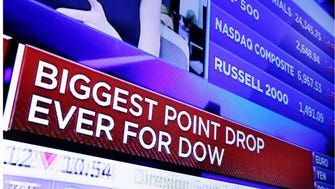 In this combo of file photo taken on the floor of the New York Stock Exchange, a television screen headlines the stock index news at the close of trading on Monday, Feb. 5, 2018, top, and a television screen headlines the Dow Jones industrial average on Monday, Feb. 12. The stock market has found firmer footing following its breathtaking drop earlier this month, where the S&P 500 lost 10 percent in just nine days.