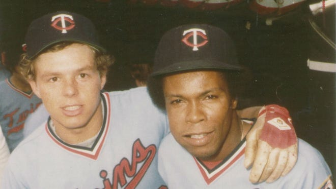 Butch Wynegar, left, and Minnesota Twins teammate Rod Carew pose in the dugout during their playing days. Wynegar said he was Carew's shadow at the 1976 All-Star Game.