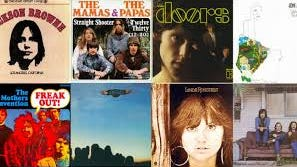 "Album covers from a few of the legendary musicians featured in docuseries, ""Laurel Canyon."""