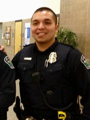 FILE - This Jan. 8, 2013, file photo provided by Christian Dobratz shows St. Anthony police officer Jeronimo Yanez outside the city council chambers in St. Anthony, Minn. Prosecutors announced Wednesday, Nov. 16, 2016, that Yanez, the officer who fatally shot Philando Castile during a traffic stop on July 6, 2016, in Falcon Heights, Minn., has been charged with second-degree manslaughter in the killing.