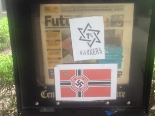Two stickers representing anti-Semitic views were removed