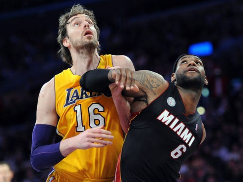 LeBron James (6) and the Heat face Pau Gasol (16) and the Lakers on Christmas Day.