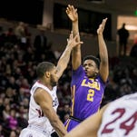 LSU Tigers guard Antonio Blakeney (2) shoots over South Carolina Gamecocks guard Sindarius Thornwell (0) in the first half at Colonial Life Arena.