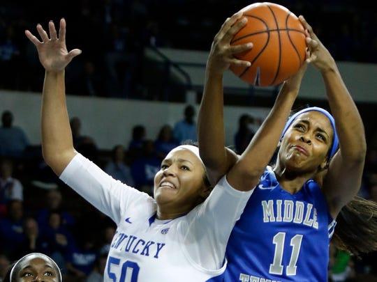 Kentucky's Azia Bishop (50) and Middle Tennessee's