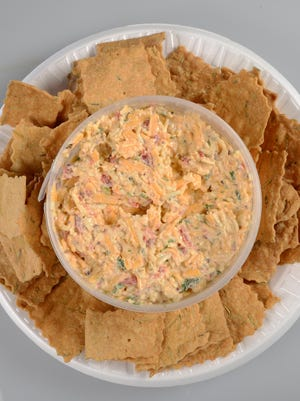 Pimento cheese with Roots and Branches crackers.