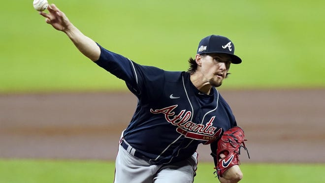 Atlanta Braves starting pitcher Kyle Wright throws during the first inning in Game 3 of a baseball National League Division Series against the Miami Marlins, Thursday, Oct. 8, 2020, in Houston.