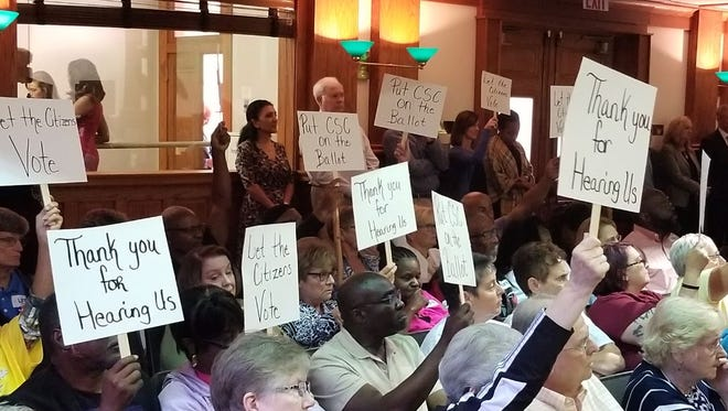 Lee County residents urge county commissioners, without success, to order a referendum on creating a Community Services Council.