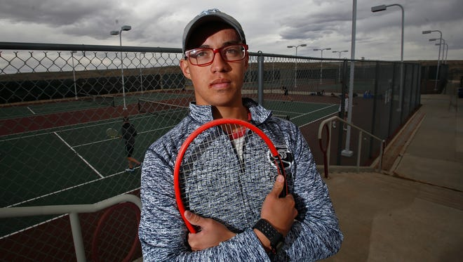 Piedra Vista's Kalani Aligarbes poses for a portrait on Monday during tennis practice at the Farmington Sports Complex.