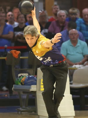 Amleto Monacelli, pictured, outdueled Pete Weber in the finals to win the 2015 Senior Masters. Monacelli and Weber are sixth and second, respectively, going into Wednesday's final day of the PBA50 Cup at South Plains Lanes.