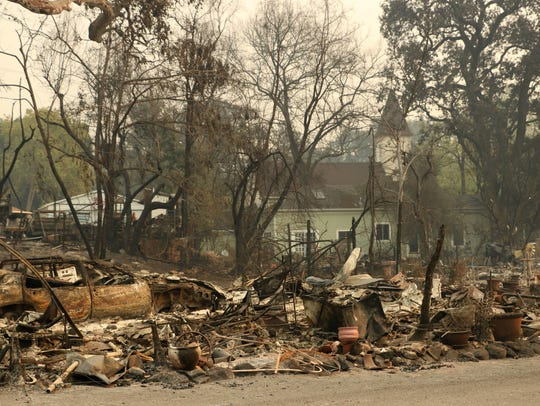 A general view after fire damage in Glen Ellen, Calif.