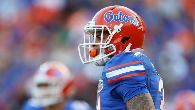 Jalen Tabor looks on during Florida's spring game at Ben Hill Griffin Stadium.