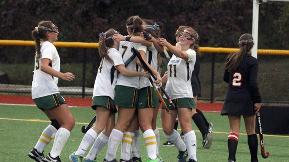 Lakeland celebrates a goal against Rye during the Section 1 Class B field hockey championship at Pace University in Pleasantville Nov. 1, 2017.