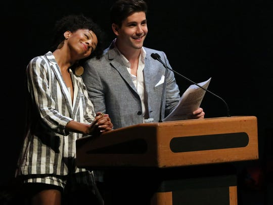 Hosts Christiani Pitts and Adam Kaplan, stars of Broadway's