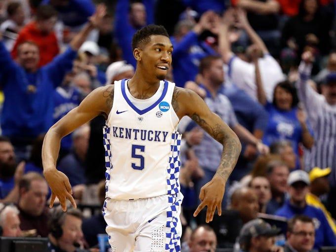 Kentucky's Malik Monk celebrates after making a 3-point