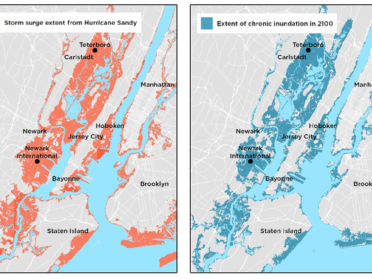 In a worst-case scenario projection, sea level is expected to rise more than 6 feet by 2100. The same areas of North Jersey and New York City that were flooded by Superstorm Sandy's surge would be inundated 26 times or more per year, according to the Union of Concerned Scientists.