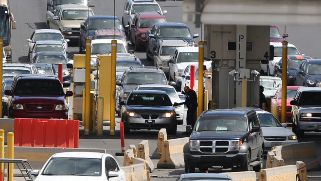 Traffic moves through the northbound inspection area at the Bridge of the Americas on Thursday.