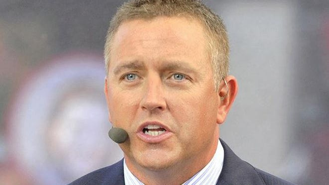 ESPN college football analyst Kirk Herbstreit on the set of College Gameday on September 5, 2015, in Fort Worth, Texas.