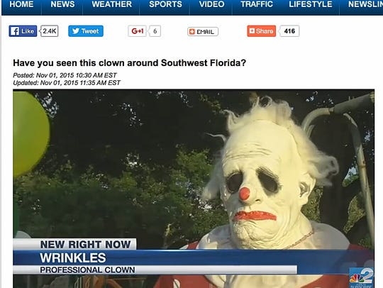 A file photo shows Wrinkles the Clown, who says he