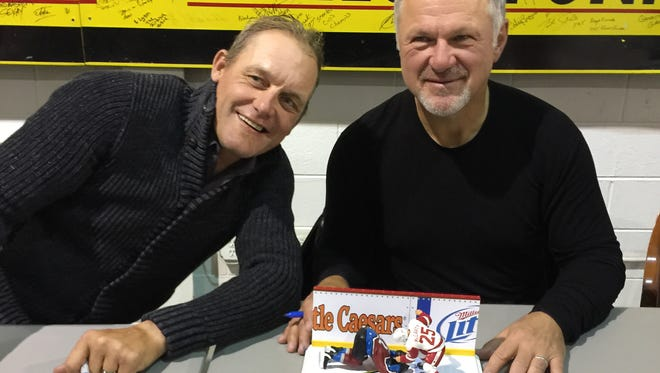Darren McCarty, left, and Claude Lemieux were reunited for an autograph signing March 11 in Mt. Clemens.