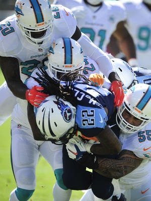 Titans running back Dexter McCluster is swamped by Dolphins defenders during the first quarter. The Titans rushed for only 63 yards in the game.