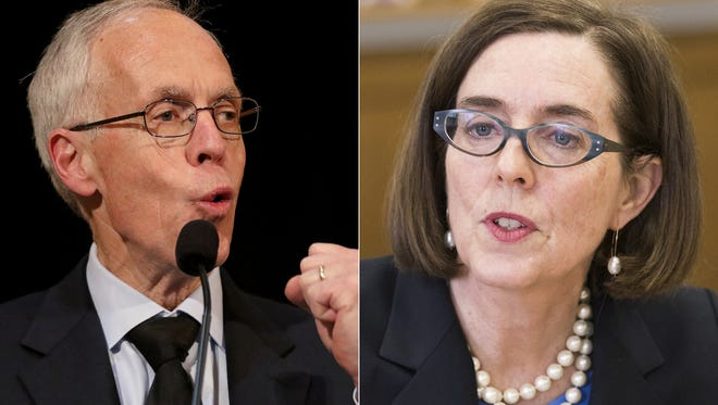 From left, gubernatorial candidate Bud Pierce and Gov. Kate Brown.