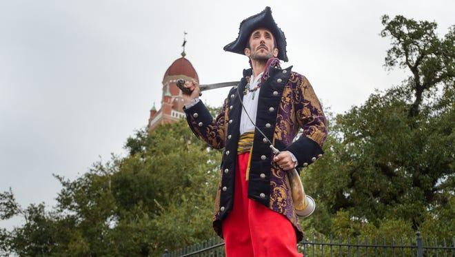 Rick Rowan poses as Castigo, a 19th century Vermilionville resident who became a member of Jean Lafitte's pirate gang