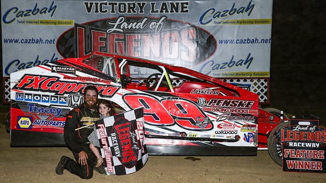 Larry Wight celebrates his first career Big-Block win at Canandaigua on Tuesday night.