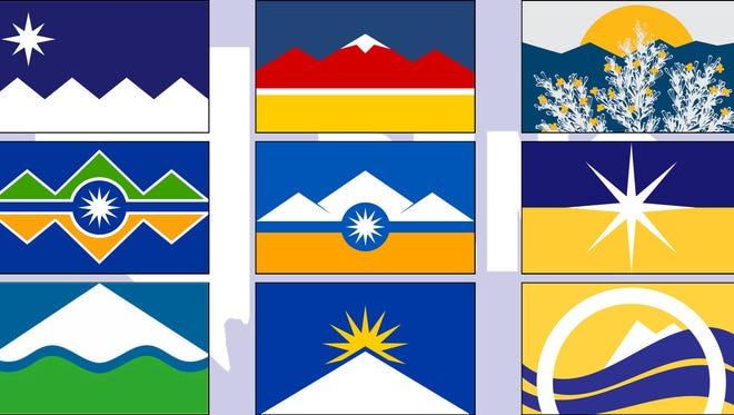 Nine out of the 13 Reno flag finalists atop the old unofficial Reno flag.